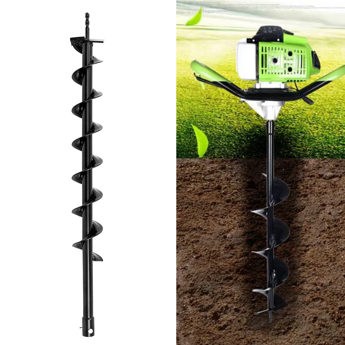 Steel Earth Auger Drill Bit Fence Borer Garden Petrol Post Hole Digger Tool Ground Drill Machine Power Tools Accessories 80mmSteel Earth Auger Drill Bit Fence Borer Garden Petrol Post Hole Digger Tool Ground Drill Machine Power Tools Accessories 80mm