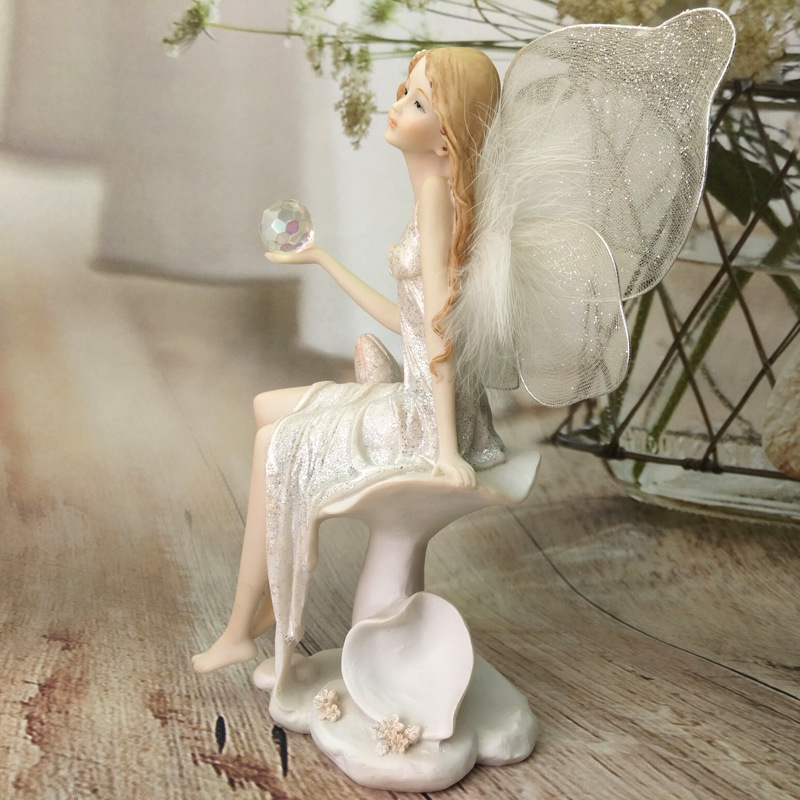 Resin Fairy Figurines Angel Home Accessories Birthday Gift Crafts Cute Decorative Ornament in Figurines Miniatures from Home Garden