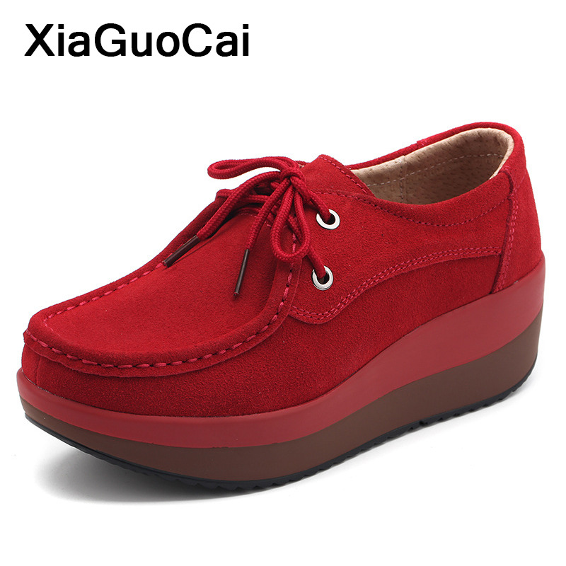 2019 Spring Autumn Women Casual Shoes Lace Up Female Flats Thick bottom Flat Platform Woman 39 s Shoes Comfortable High Quality in Women 39 s Flats from Shoes