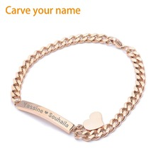 2017New Trendy ID Heart Bracelet Bangle for Women Girl Gift Stainless Steel Metal Bracelets Provide DIY Custom Engraved Jewelry