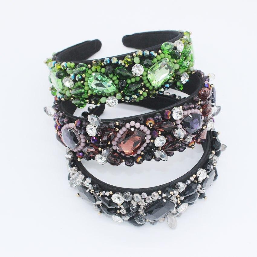 Rhinestone Hairband Jewel Baroque Ladies Jewelled Headband Hair Band Womans Diamond Gem Accessories