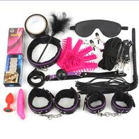 17PCS/set New Style Sexy Lingerie BDSM Kit Sex Bondage Plush Leather Whip Feather Stick Hand Cuffs For Couples