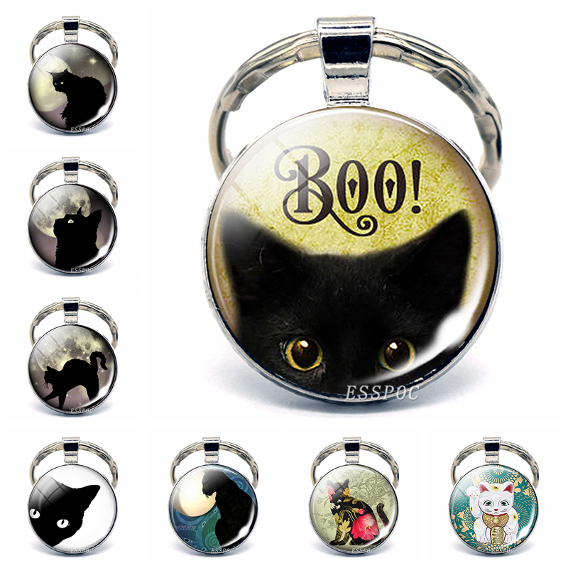 BOO! Halloween Black Cat Glass Dome Keychain Pendant Trick Or Treat Jewelry Cute Kitten Key Chain Ring Fob Birthday Gifts