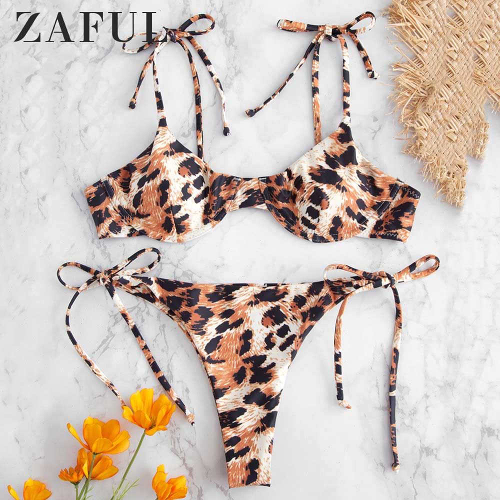 ZAFUL Leopard Tie Shoulder Underwire Bikini Set 2 Pieces Spaghetti Straps Push Up Swim Suit Low Waisted Sexy Women Swimwear 2019