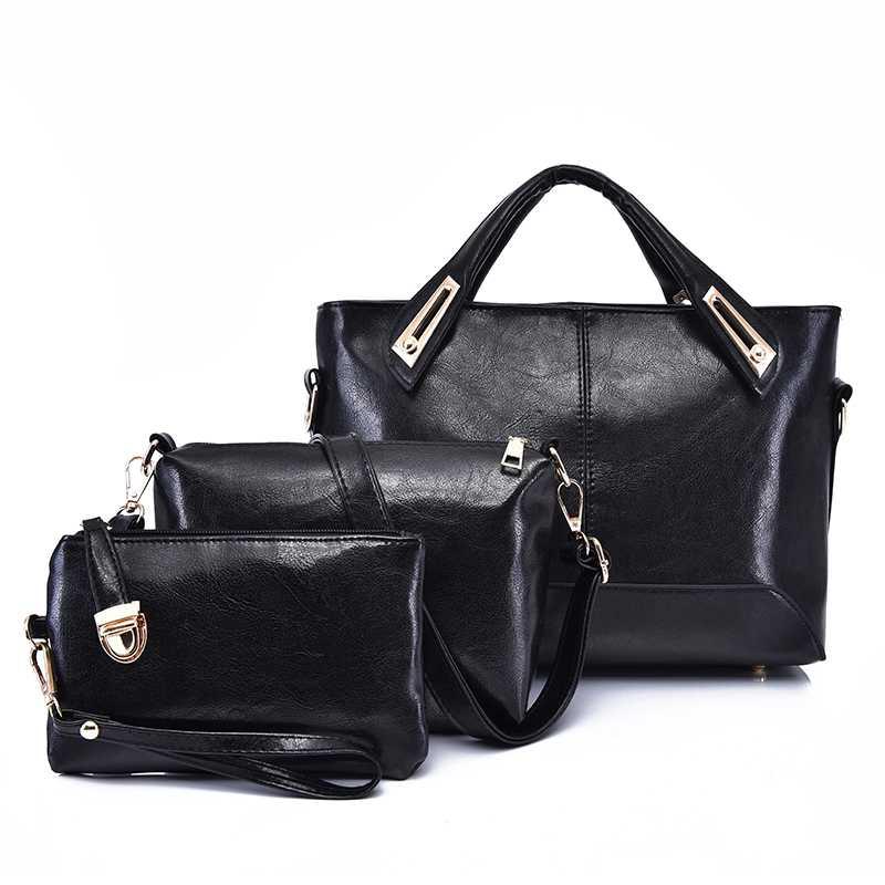 295325b12fad 3 комплекта сумки кожаные модные женские сумки дизайнерские сумки брендовые  сумки с верхней ручкой классические простые