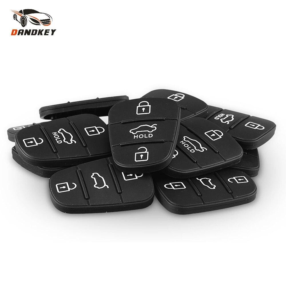 Dandkey 2pcs New Replacement Rubber Pad 3 Buttons Flip Car Remote Key Shell For Hyundai I30 IX35 Kia K2 K5 Key Cover Case