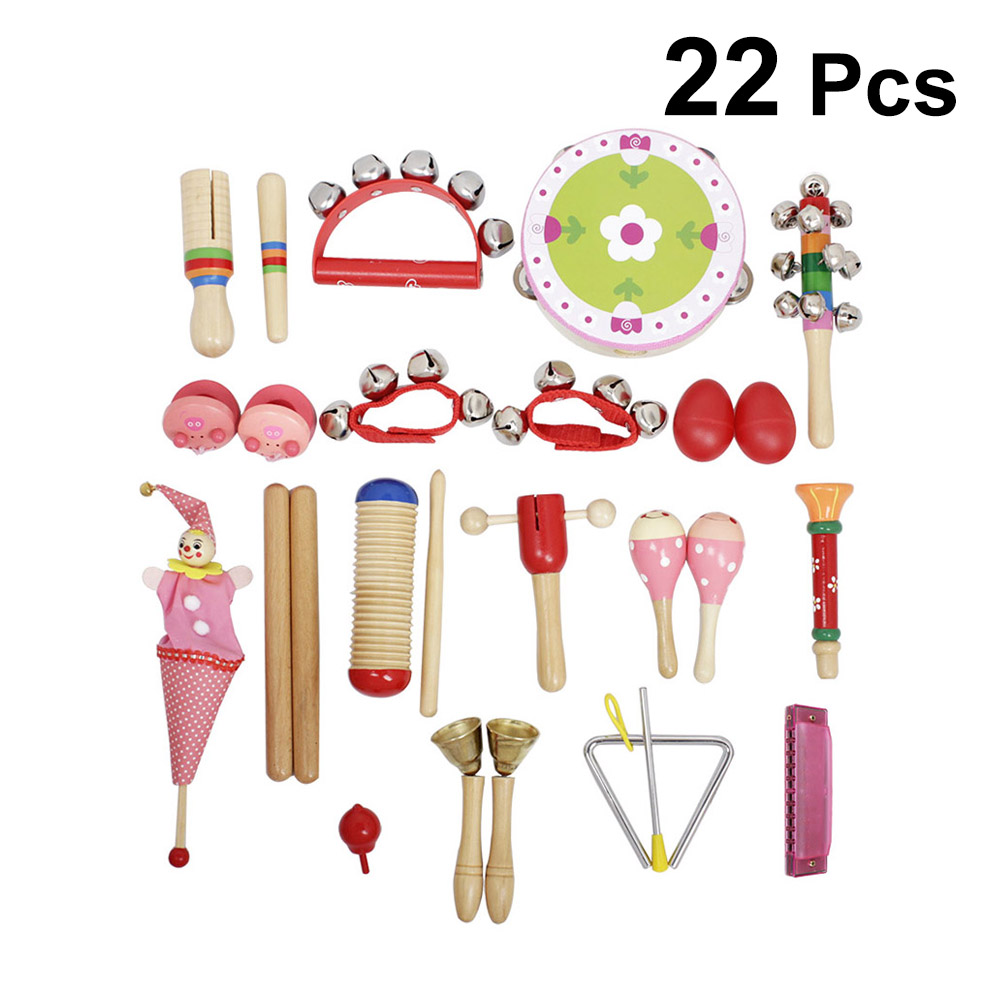 Good For Antipyretic And Throat Soother Hard-Working 22 In 1 Musical Toy Kit Sand Egg Wrist Bell Triangular Iron Pull Doll Castanet Finger Cymbals For Children Kids red & Blue