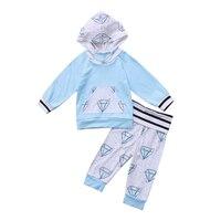 Pudcoco  0-24M Newborn Baby Boys Girls Diamond Hoodie Sweatshirt Pockets Tops+Long Pants Leggings Outfit Set