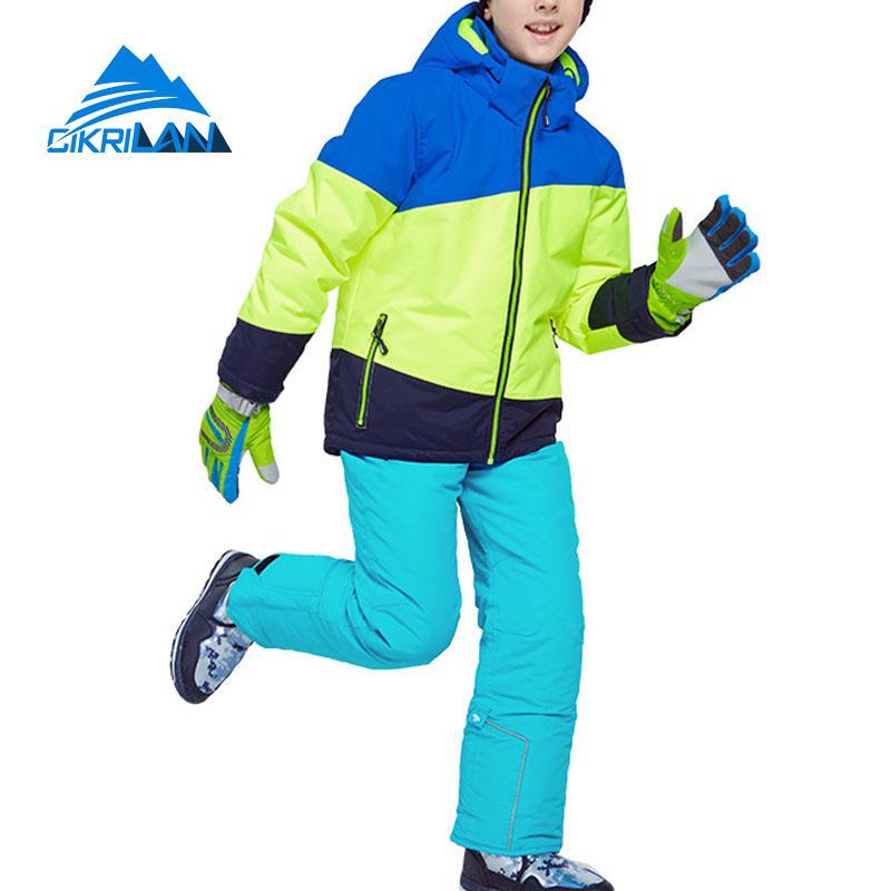 Hiver enfants en plein air snowboard coton veste rembourrée pantalon de neige garçons épais combinaison de Ski enfants Windstopper imperméable à l'eau ensemble de Ski