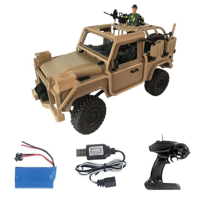 1:12 RC Car 2.4G 4WD Convertible Jeep Remote Control Light 4-Wheel Drive Off-Road Military Truck Climb Car Toys For Kids