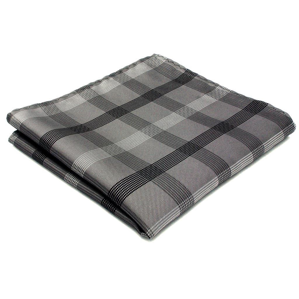 Handkerchief Checked Plaids Black Dark Gray Hanky Mens Pocket Square Suit Gift