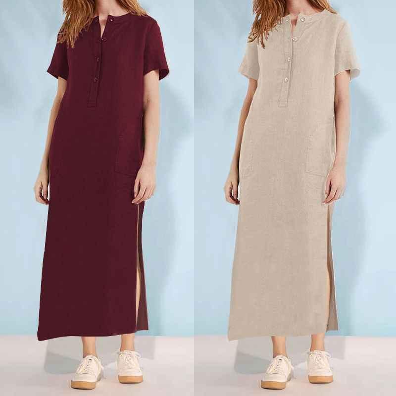 721214c21e8 Celmia 5XL Women Retro Maxi Dresses 2019 Summer Plus Size Button Down Sundress  Casual Loose Split
