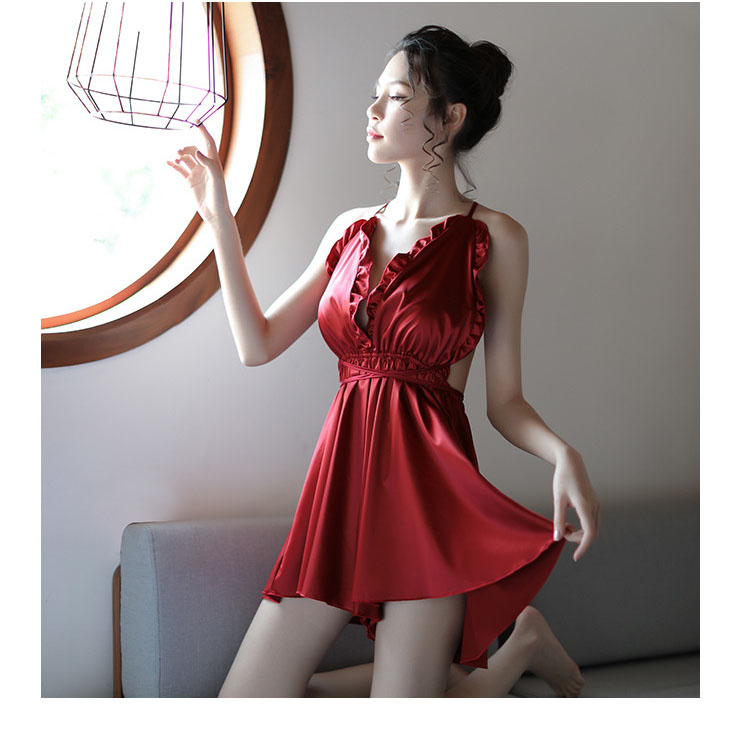 Sexy Women Satin   Nightgown   Hanging Neck Crossover Strap Ruffled   Nightgowns   Red Back Solid Backless Mini Sleepwear