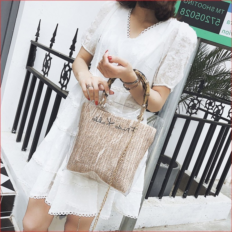 2019 Small Handbags Transparent Women Composite Clutch Bucket Totes Chain Straw Purses Lady Travel Beach Shoulder Crossbody Bag