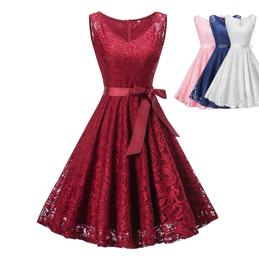 lace vintage dress red white dress party dress vestiti donna vestido de festa sukienka zomer kanten jurk image