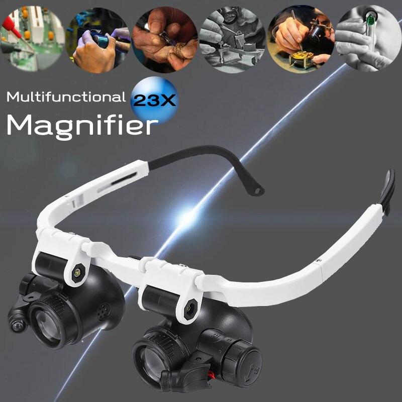 Réglable 23X LED Loupe binoculaire Double yeux lunettes Loupe lentille bijoux montre réparation mesure Kit