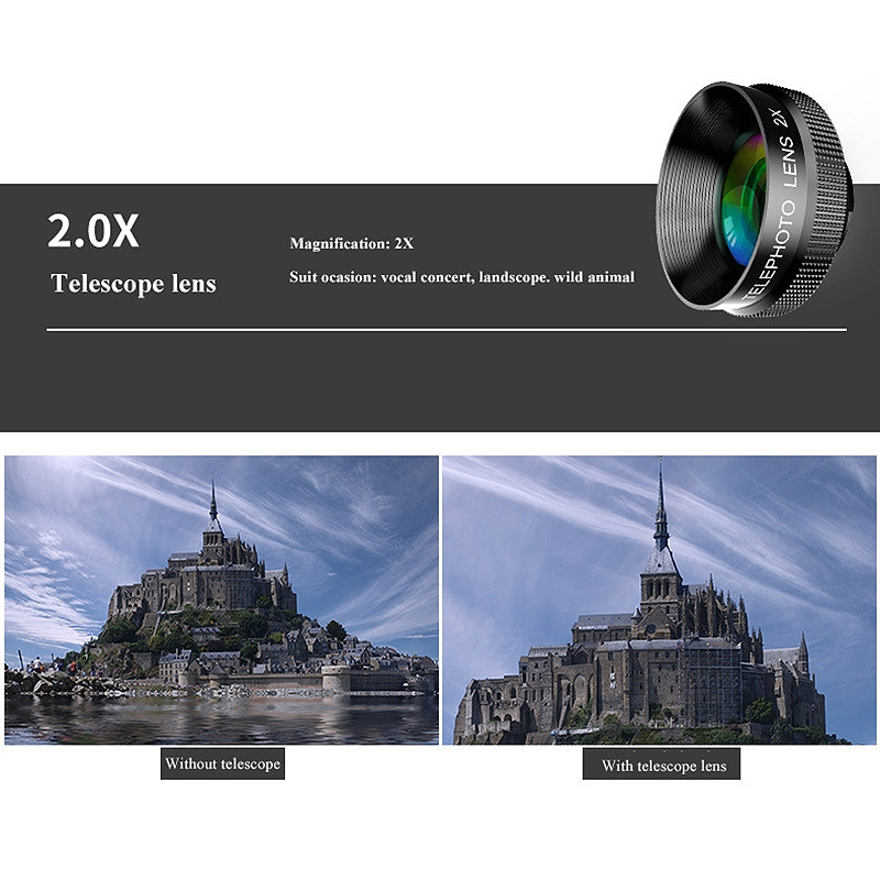 Image 4 - 4 In 1 Phone Lens 0.63X Wide Angle Macro Fish Eye Telephoto Zoom Lens For Samsung S8 S9 Plus Phone Camera Lens Kit-in Camera Lens from Consumer Electronics