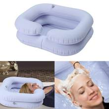 Inflatable ผมอ่างล้างหน้าแชมพูแบบพกพาแชมพูถาดท่อระบายน้ำ Handicap Bed Rest Aid Use Salon Hairdressing Tool(China)