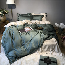 Pure color light luxury 60S Tencel 4pcs comfortable bedding RUIYEE brand King size set quilt cover sheets pillowcase