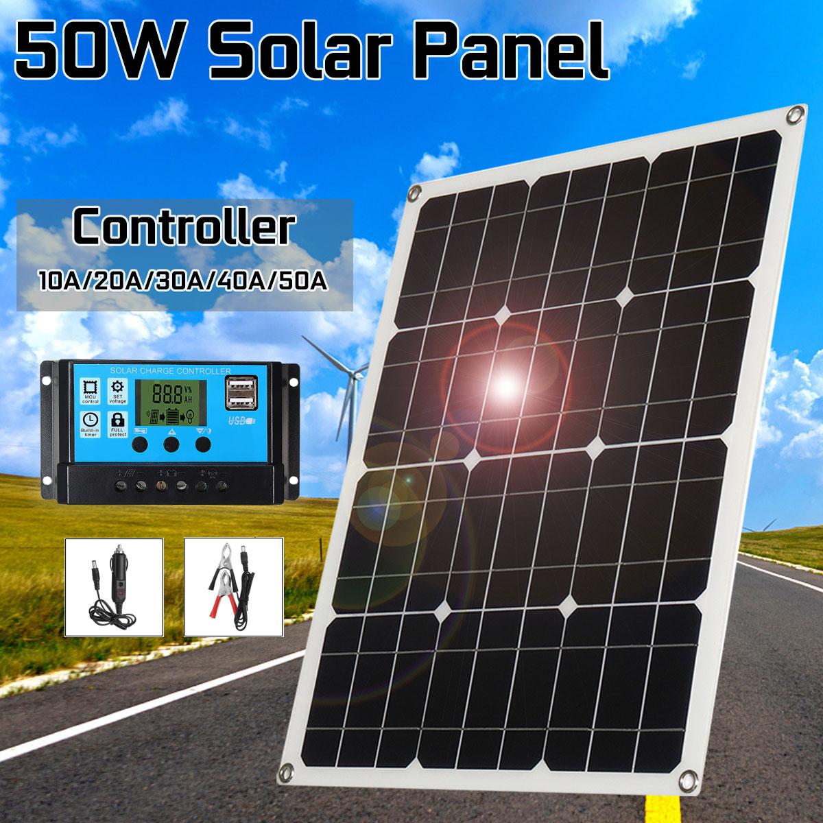 50 W panneau solaire extérieur cellules solaires Poly panneau solaire double sortie USB 10/20/30/40/50A contrôleur pour voiture Yacht 12 V batterie bateau
