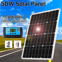 50W Outdoor Solar Panel Solar Cells Poly Solar Panel double USB Output 10/20/30/40/50A controller for Car Yacht 12V Battery Boat