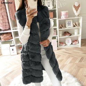 Image 4 - Warm Faux Fur Fox Vest Women Winter Casual Artifical Fur Warm Coat Super X Long Waistcoat Female Faux Furs Wholesale