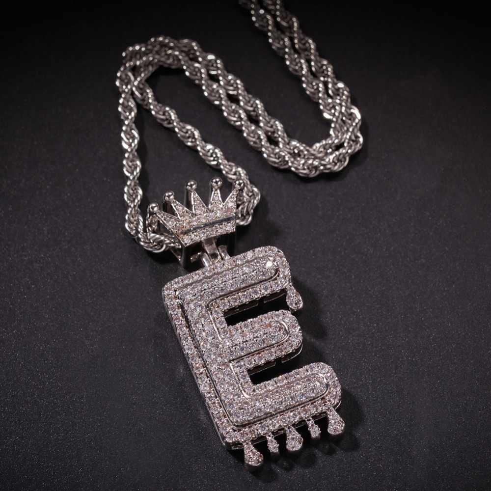 Custom Crown Bail หยด Bubble ตัวอักษรเริ่มต้นสร้อยคอและจี้สำหรับผู้ชายผู้หญิง Gold Cubic Zircon Hip Hop เครื่องประดับ