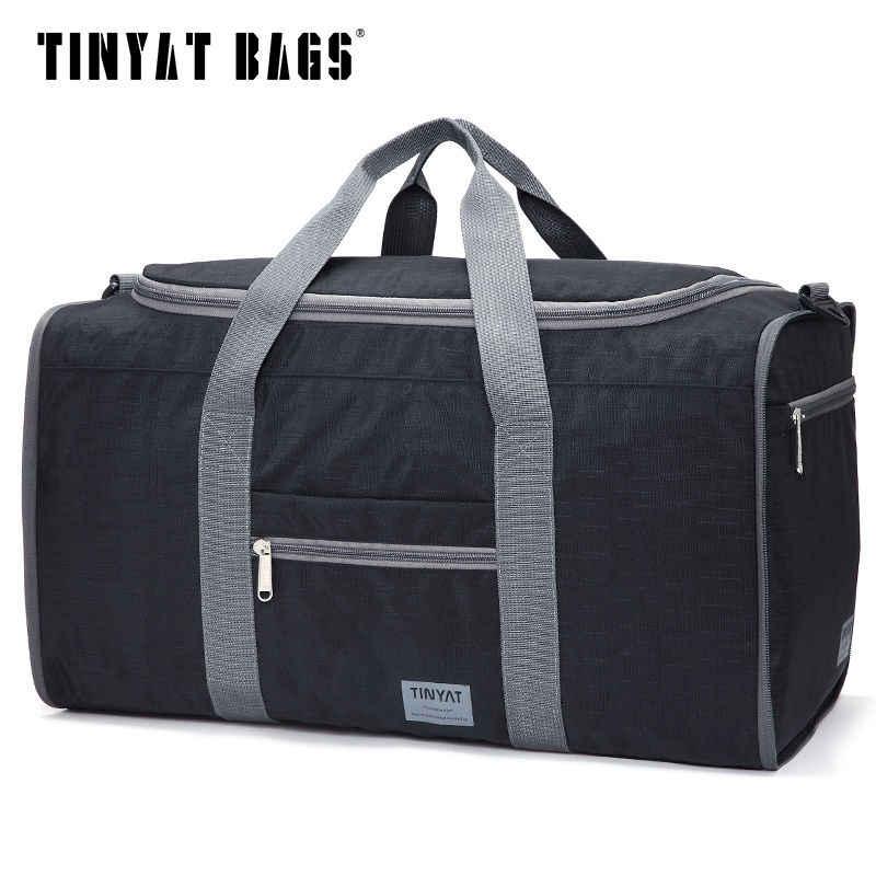 Bolsa de viaje para hombre, TINYAT, bolsa de viaje, bolsa plegable para mujer, bolsa de lona de Nylon impermeable, bolsa de viaje, equipaje negro, T-306