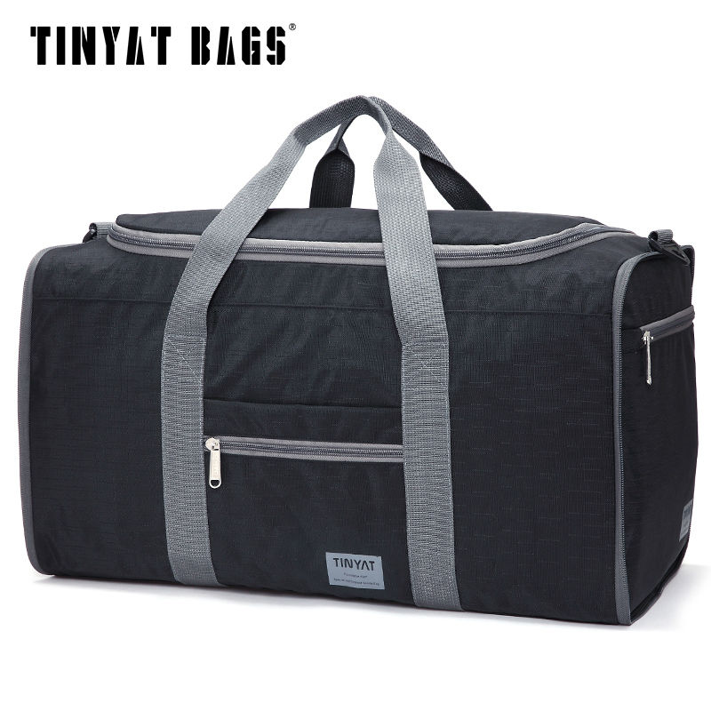 TINYAT Male Men Travel Bag Folding Bag Protable Molle Women Tote Waterproof Nylon Casual Travel Duffel Bag Black Luggage T-306