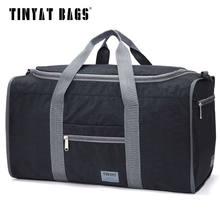 TINYAT Male Men Travel Bag Folding Bag Protable Molle Women Tote Waterproof Nylon Casual Travel Duffel Bag Black luggage T-306(China)