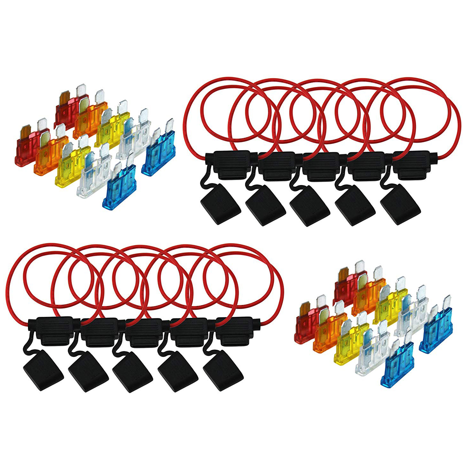 4Pcs Medium Blade Fuse Holder Waterproof 16AWG In-Line Wire Cable For Car//Boat//