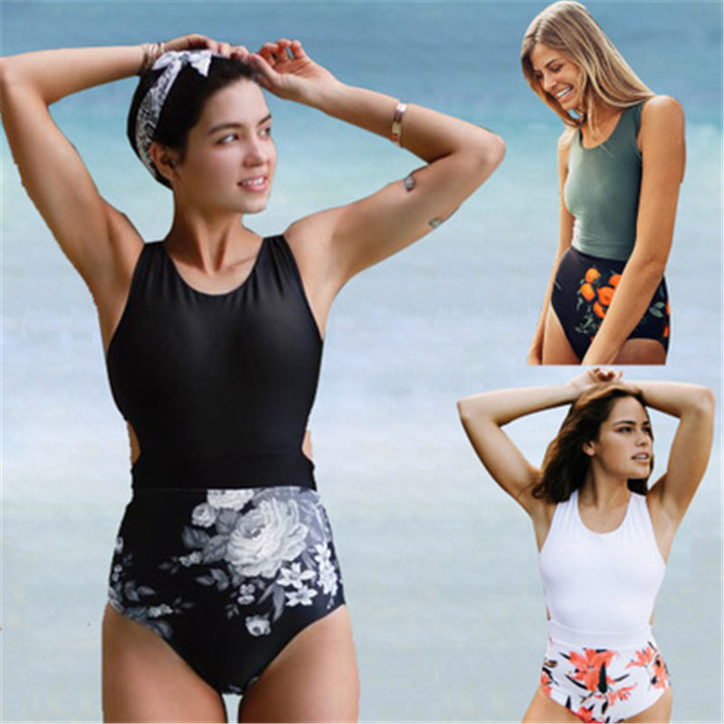 2018 Floral One Piece Swimsuit Women Swimwear Sexy Bandage Bathing Suits Bodysuit Zipper Swim Wear Monokini Swimsuit Black XXL