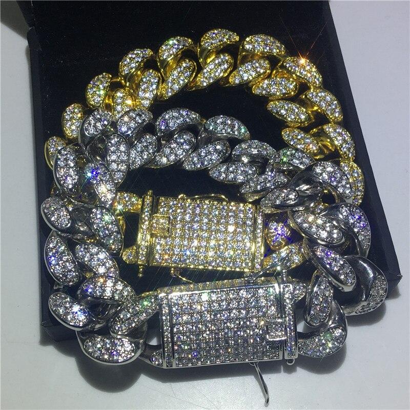 Cool mâle grand Hiphop chaîne bracelet AAAAA Cz argent or couleur fête anniversaire Bracelet pour hommes Rock bijoux largeur 2 cm cadeau