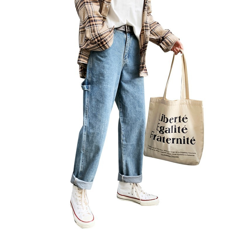 2019 Korean Style Men's New Baggy Homme Classic Cargo Pocket Jeans men Black/blue Color Male Casual Pants Biker Denim Trousers