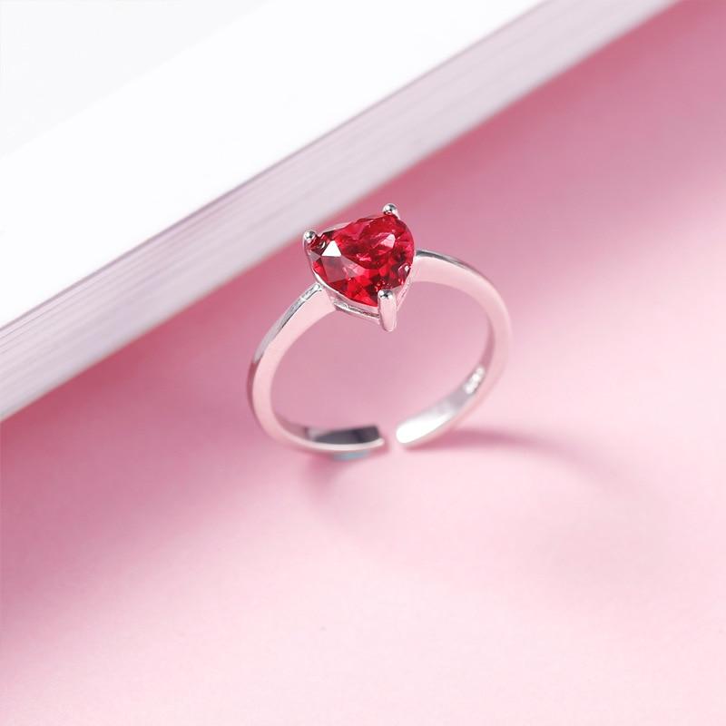 925 Sterling Silber Rot Herz Form Hochzeit Ringe Für Frauen Braut Mode Schmuck Engagement Bague Zubehör Zk40