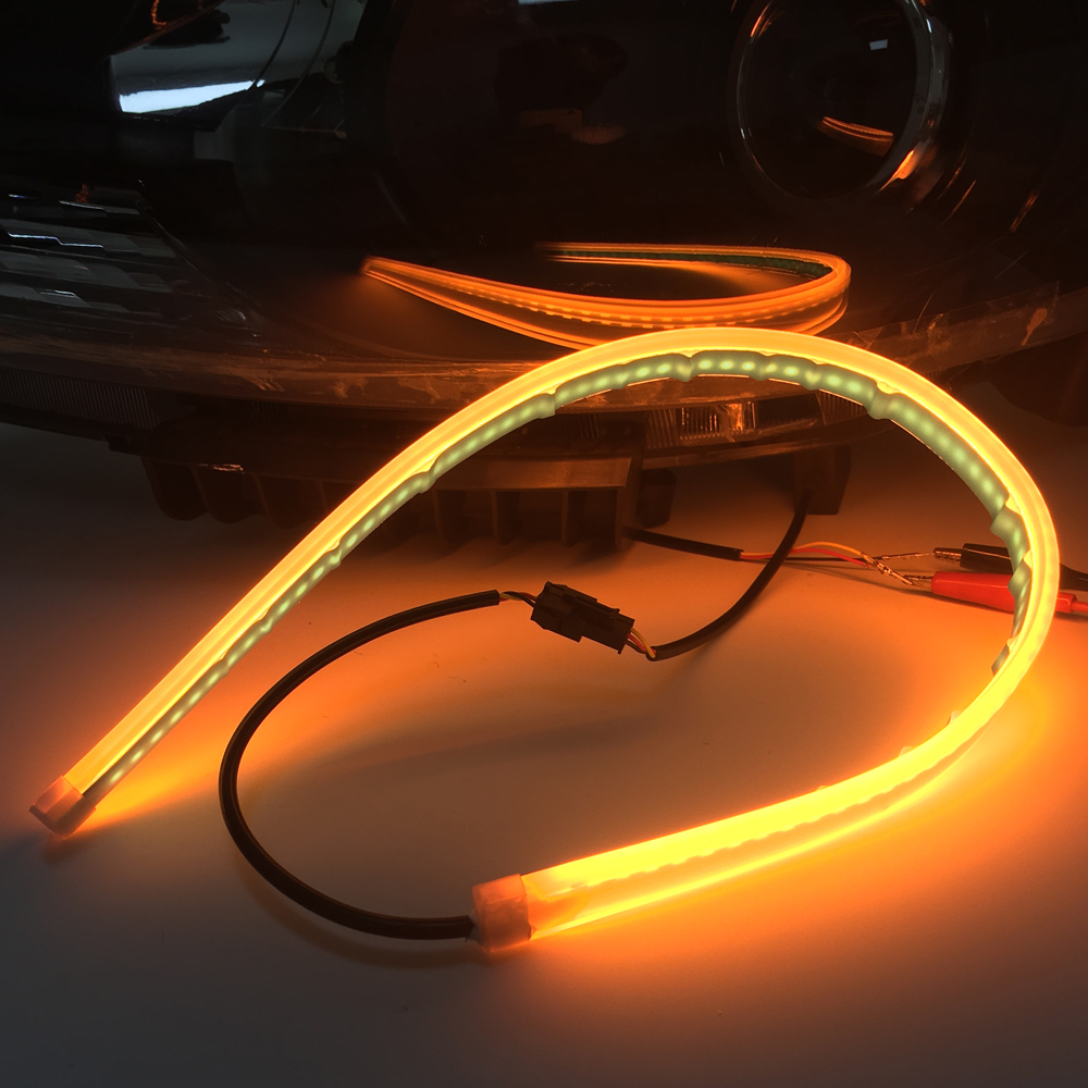 2Pcs Slim Flexible drl Sequential Switchback LED Knight Rider Strip Light For <font><b>Headlight</b></font> Amber Turn Signal Lights For bmw e46 image