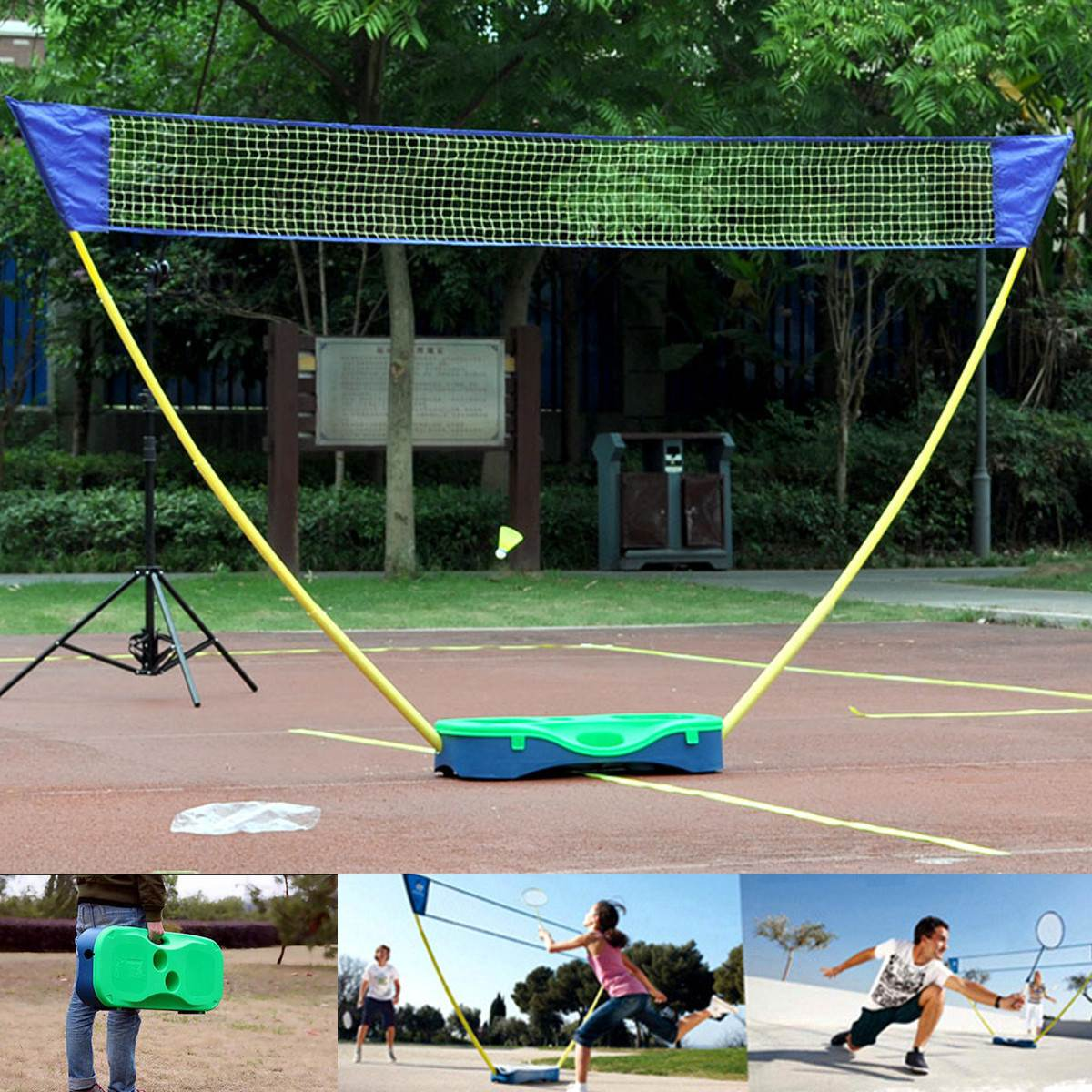 3 en 1 Sport de plein air Badminton Tennis volley-ball Net support Portable Battledore Set filet cadre support mallette de rangement