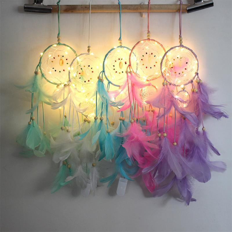 Glowing Dream Catcher With String Lights Home Room Decoration Wred Light Feather Style Dreamcatcher Hanging