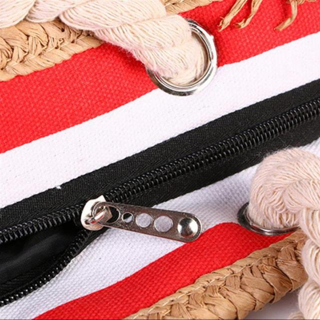 2019 New Beach Tote Bag Fashion Women Canvas Summer Large Capacity Striped Shoulder Bag Tote Handbag Shopping Shoulder Bags 6