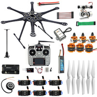 Full RC Drone 6 axis Aircraft Kit HMF S550 Frame 6M GPS APM 2.8 Flight Control AT10 II Transmitter Gimbal Camera Mount