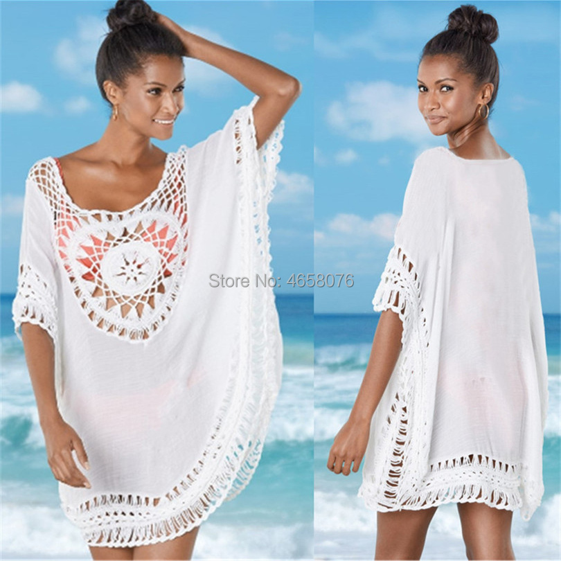 Summer Women Beach Tunic Dress Sexy Deep V Neck Hollow Out Cold Shoulder Front Short Back Long Dress Beach Cover Up Sarong