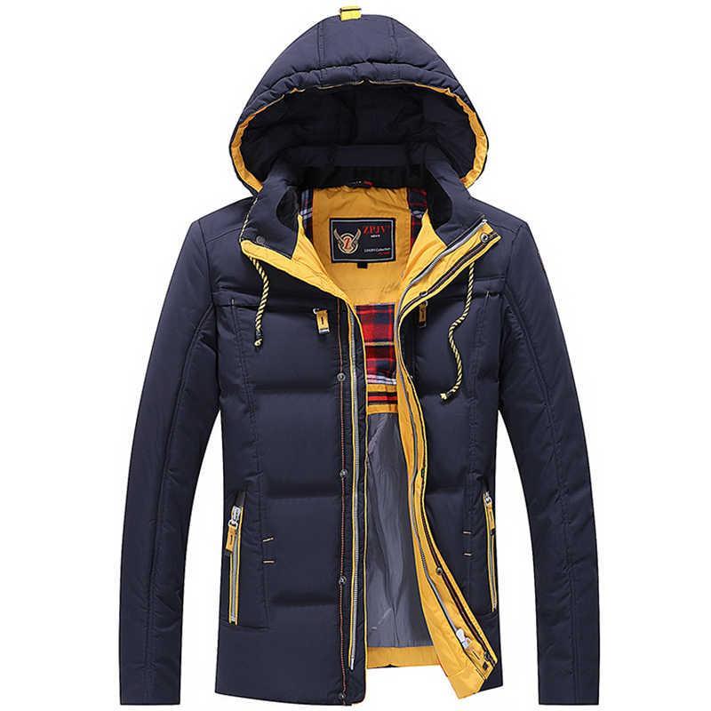 e215732027 Men Quilted Solid Color Long Sleeve Ski Jacket Men Trendy Warm Keeping  Jacket Hooded Coat Snowboard