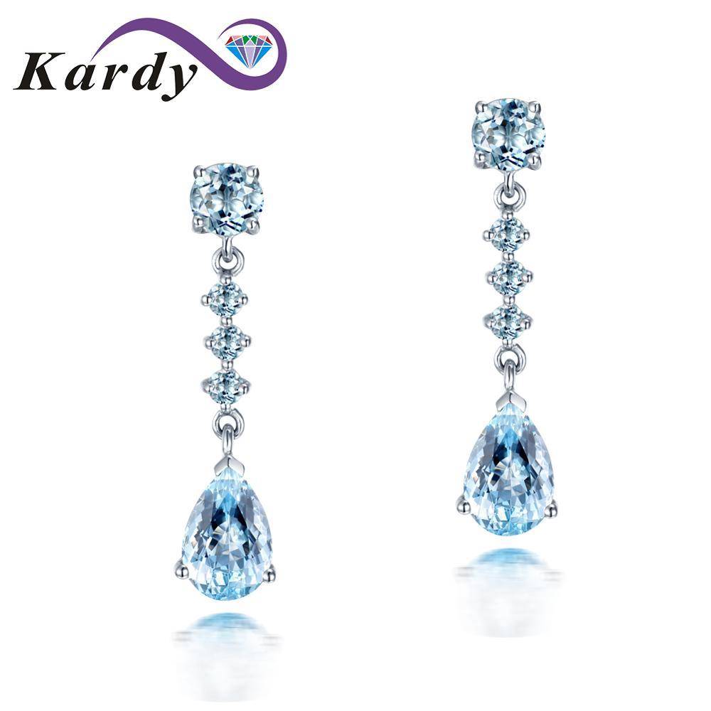 Incroyable aigue-marine naturelle pierre gemme diamant 14 K or blanc fiançailles mariage boucles d'oreilles ensemble pour les femmes