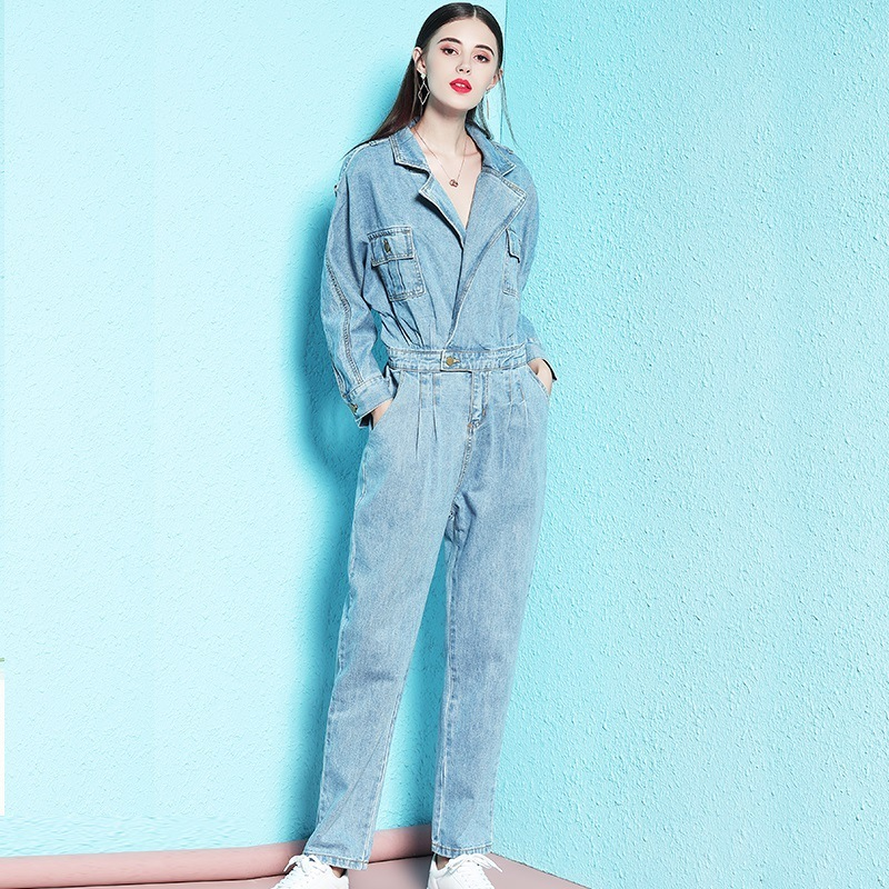 Nordic Winds 2018 autumn new style jumpsuit woman denim shorts casual top v neck blue jumpsuit