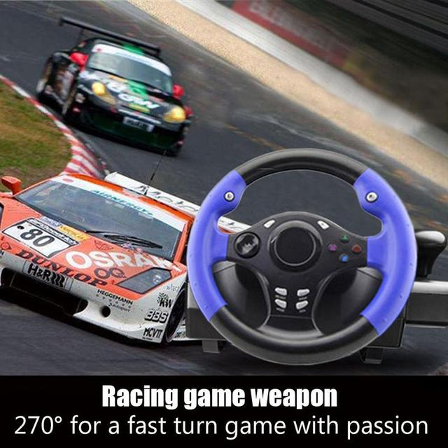 7in1 270degree Car Racing Steering Wheel With Responsive Pedals For