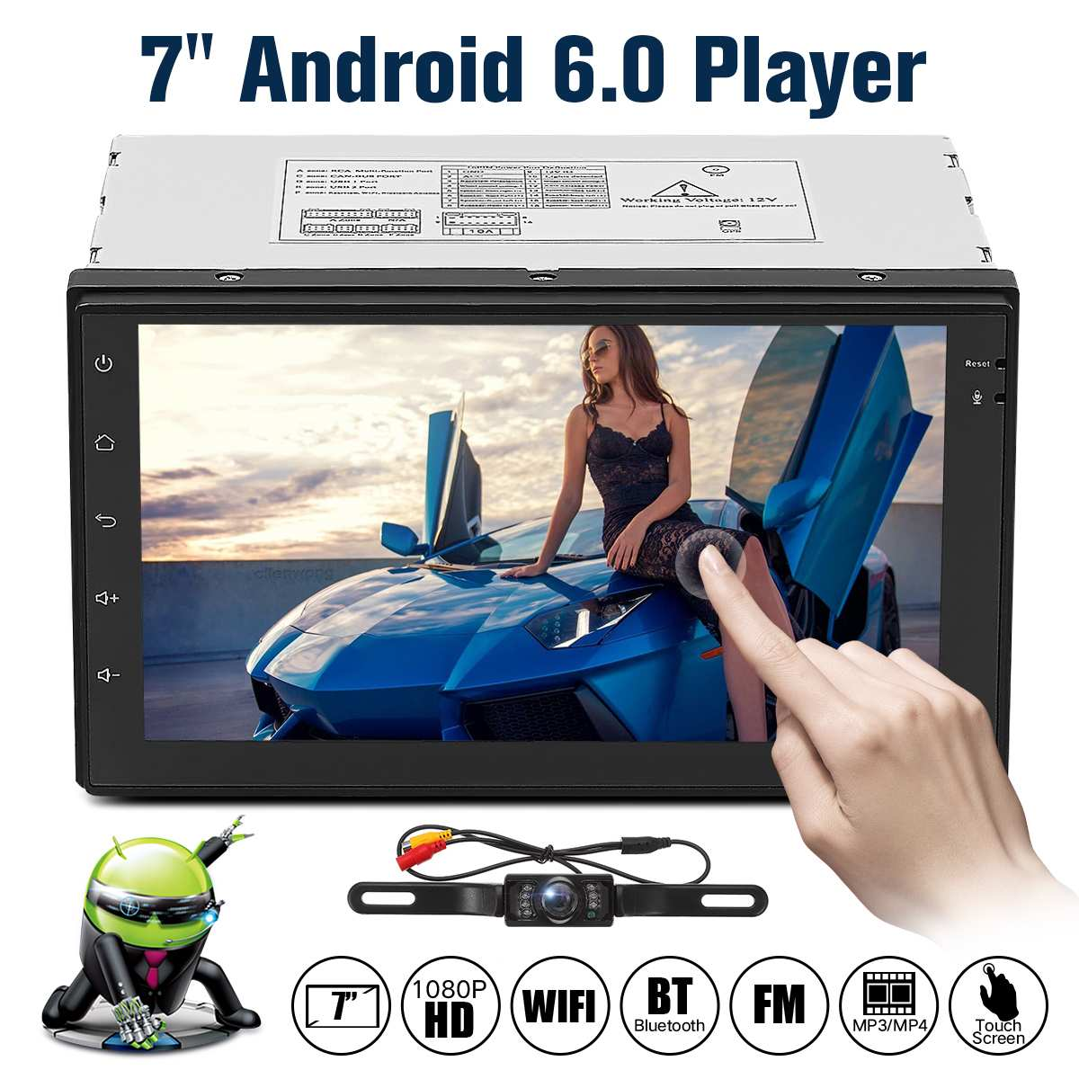 "7"" 2 Din Android 6.0 Car Radio Universal GPS Navigation bluetooth WiFi MP5 Autoradio Stereo FM Audio Camera Car Video DVD Player"