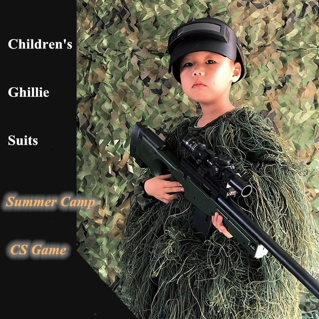 US $13 67 35% OFF|Children Sniper Ghillie Clothes Stealth Suits Kids  Outdoor Summer Camp Hunting CS Airsoft Shooting Training Combat Tactical  Sets-in