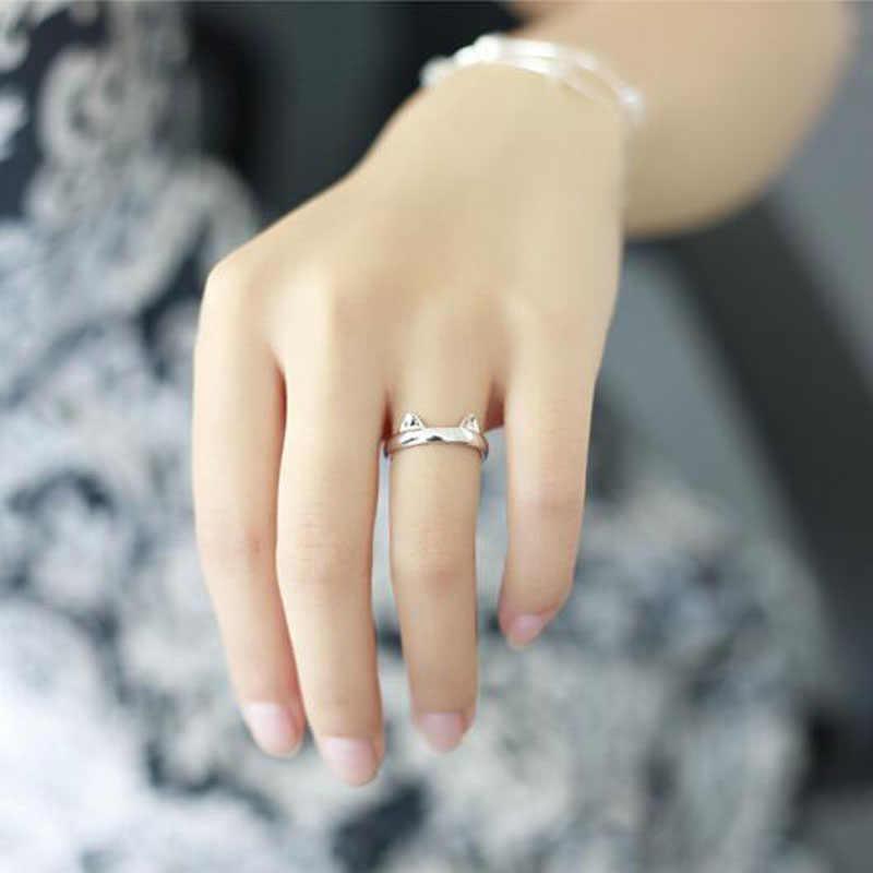 כסף מצופה חתול אוזן טבעת עיצוב חמוד תכשיטים חתול טבעת לנשים וילדה מתנות מתכוונן קסמי אנל GSZR0064
