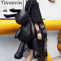 TVVOVVIN 2019 Korean Trend Travelling Rabbit Both Shoulders Package Woman Personality Bale Black Bag M165