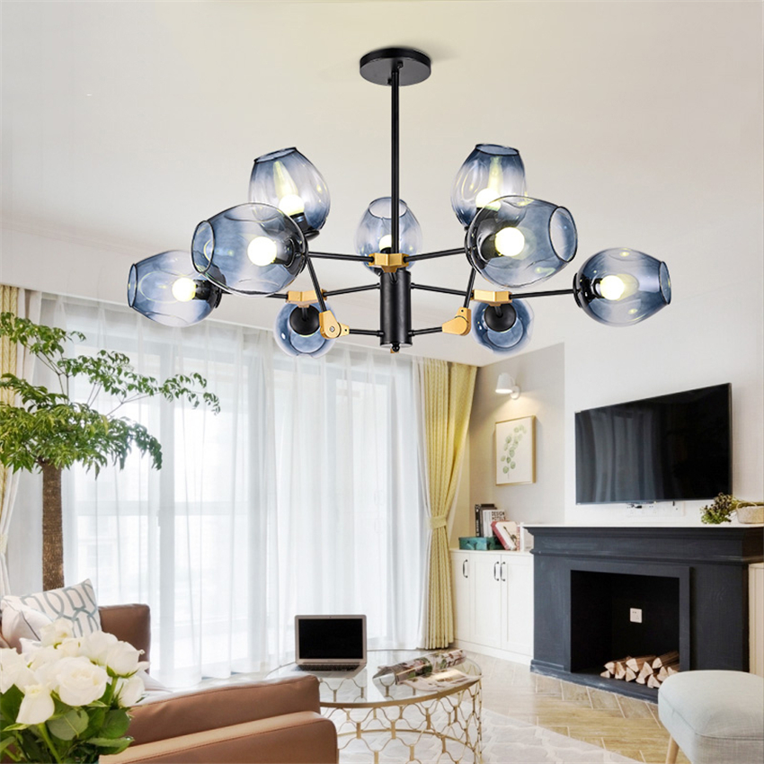 Nordic Glass LED Chandeliers Molecular Magic Bean Glass Ball Lamp Branch Pendant Lamps Hanging Lamp Dining Room Kitchen Lamps in Pendant Lights from Lights Lighting